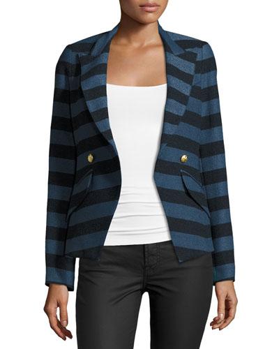 Crossover Striped Blazer, Blue