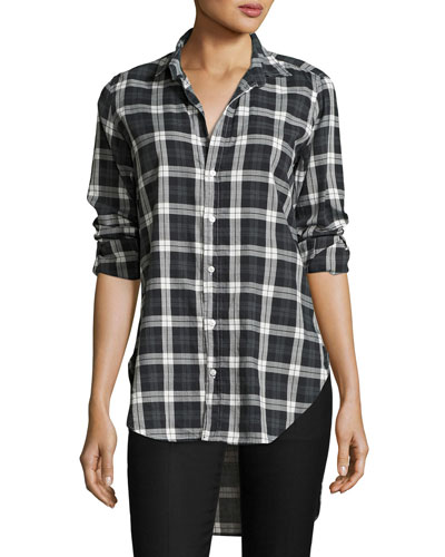 Grayson Brushed Italian Twill Shirt, Black Plaid