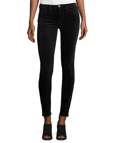 The Ankle Skinny Velvet Pants, Washed Black
