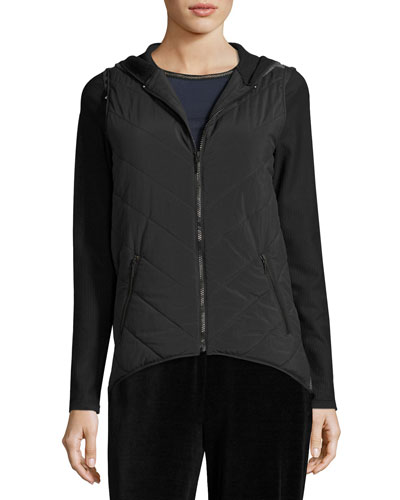Amy Quilted/Knit Combo Vest, Black