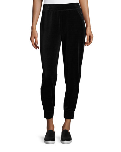 Simone Velour Jogger Pants, Black