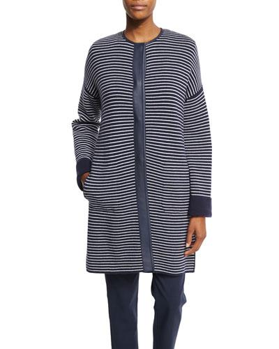 Vernazza Reversible Striped Coat, Spring Blue/White