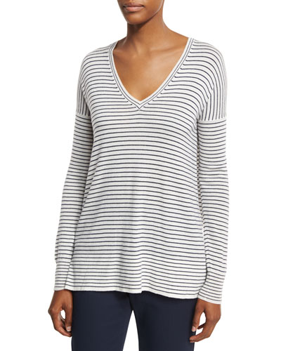 Riomaggiore Striped V-Neck Sweater, Spring Blue/White