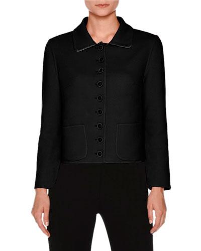 Patch-Pocket Button-Front Short Jacket, Black