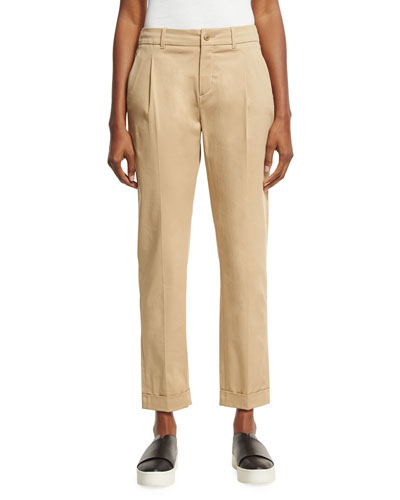 Marcus Pleated Ankle Pants, Light Brown