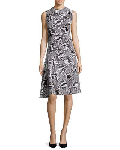 Optic Jacquard Embellished A-Line Dress, Black/White