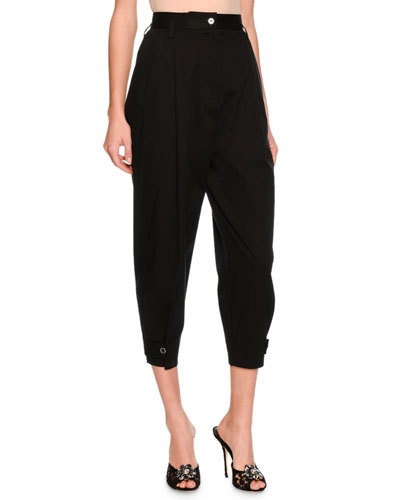 High-Waist Cropped Pants, Black