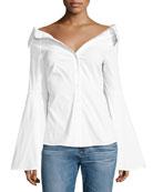 Persephone Décolleté Shirt, White