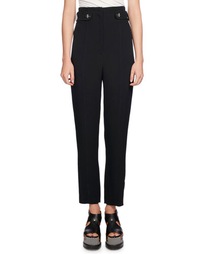 High-Waist Pencil-Leg Pants, Black