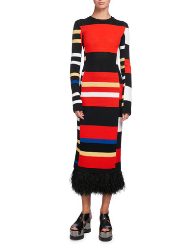 Variegated-Stripe Long-Sleeve Feather-Hem Dress, Multi