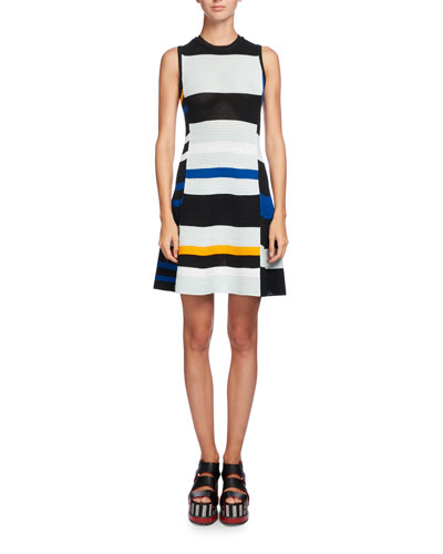 Variegated-Stripe Sleeveless A-Line Dress, Multi