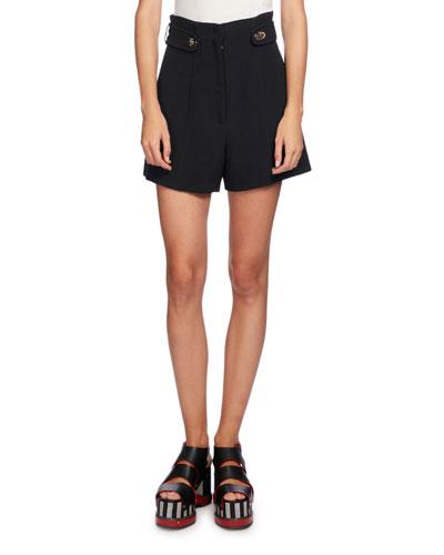 High-Waist Button-Tab Shorts, Black