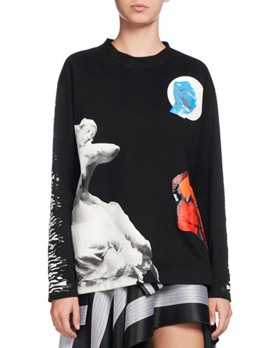 Sculpture-Print Long-Sleeve Tee, Black