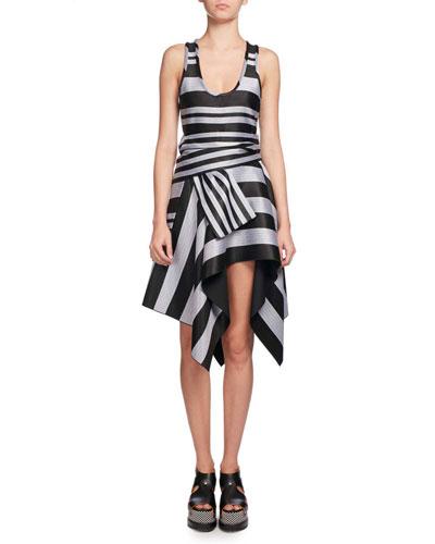 Mixed-Stripe Handkerchief-Hem Dress, Multi