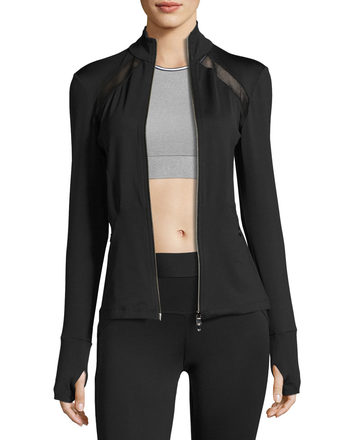 HEROINE SPORT Studio Mesh-Trim Full-Zip Jacket, Black