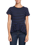 Striped Crewneck Peplum Tee, Blue/Black