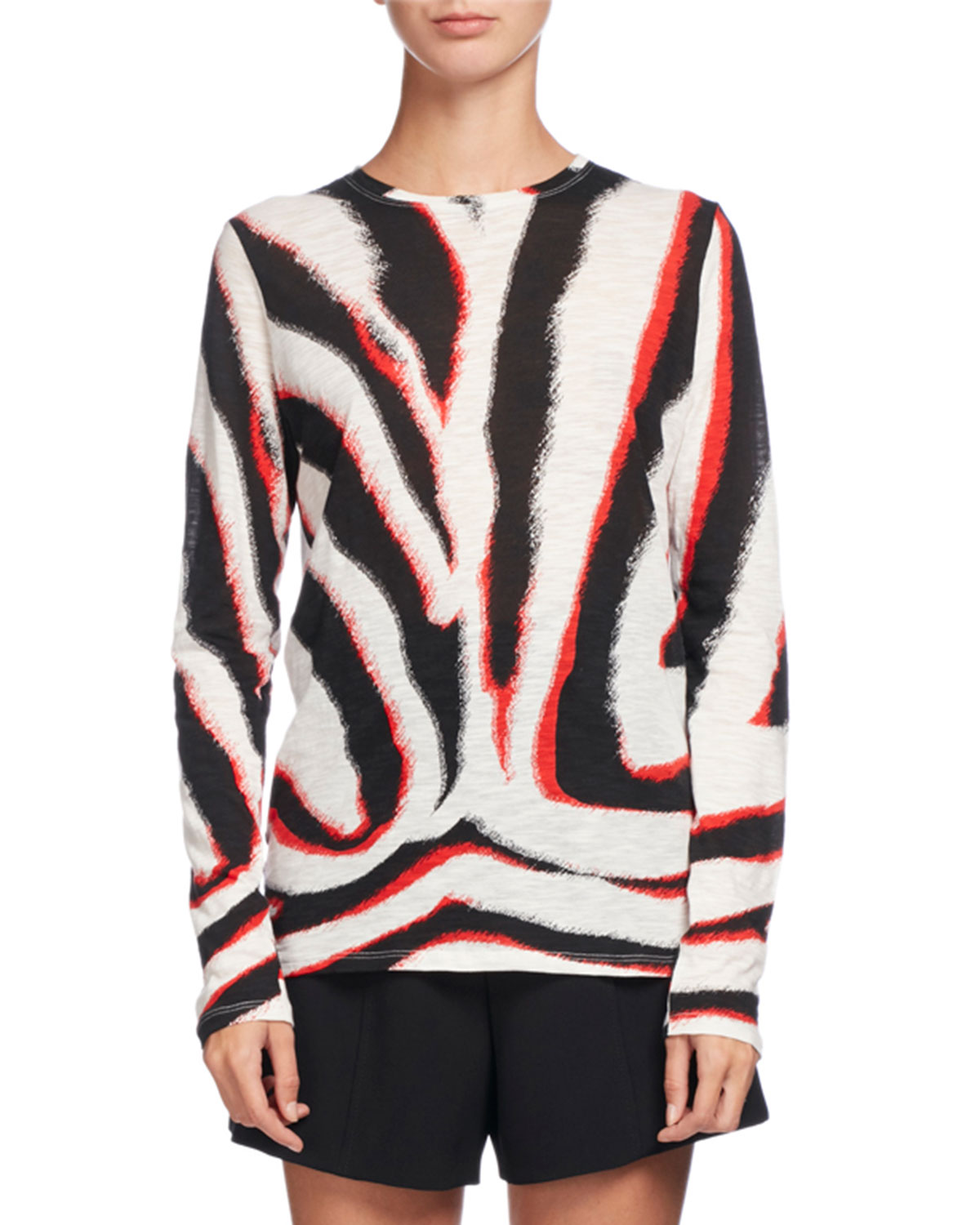 Zebra-Print Long-Sleeve Tee, Multi