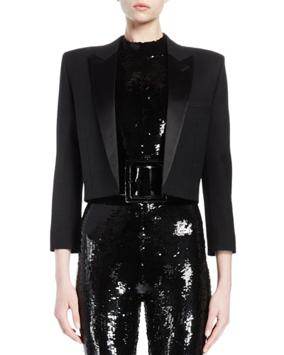 Structured-Shoulder Spencer Jacket, Black