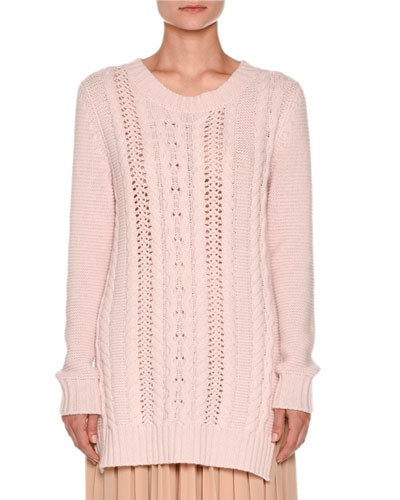 Vented Cable-Knit Pullover Sweater, Pale Rose