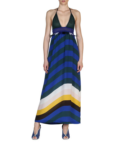 Crochet & Wave-Stripe Combo Maxi Dress, Bluebird