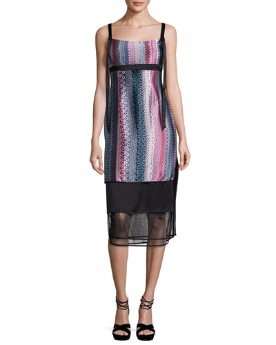 Gia Sleeveless Silk Midi Dress, Black Pattern