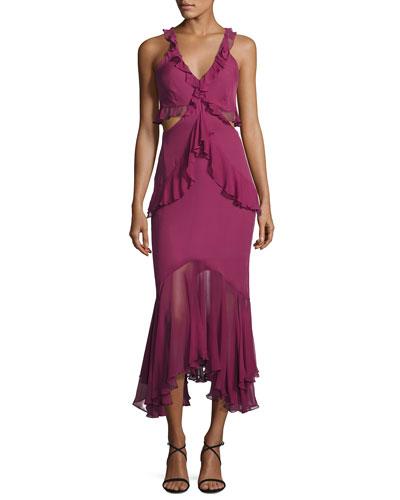 Sydney Ruffle Cutout Silk Midi Dress, Purple