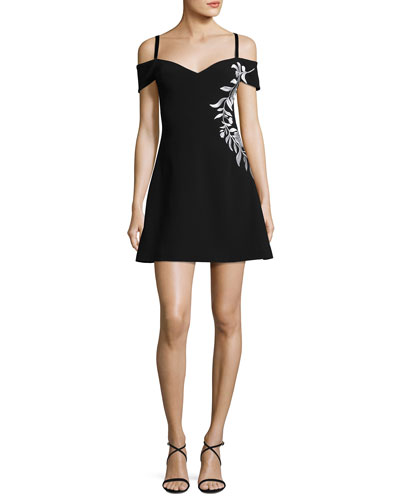Larkin Cold-Shoulder Embroidered A-Line Mini Dress, Black/White