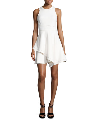 Lyla Sleeveless Handkerchief-Hem Dress, White/Black