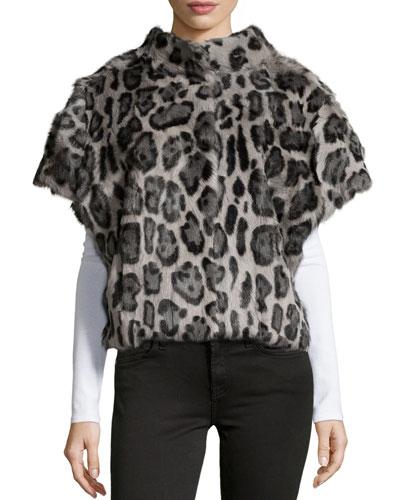Leopard-Print Fur Batwing Vest, Leopard