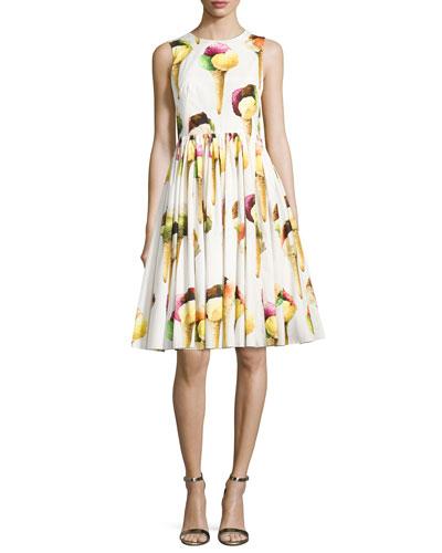 Sleeveless Ice Cream Poplin Dress, White