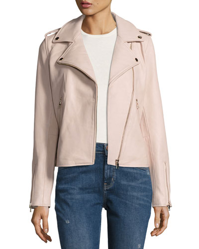Leather Moto Jacket, Blush