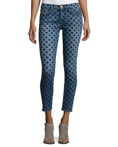 The Stiletto Skinny Jeans w/Flocked Dots, Navy