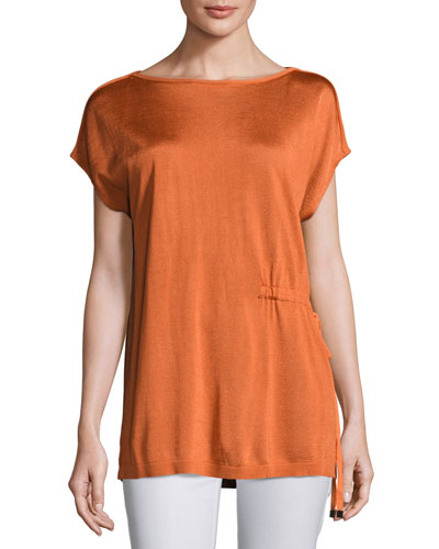 Radiant Shimmer Short-Sleeve Sweater w/ Tie-Waist Detail