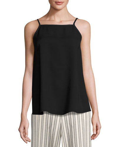 Taylor Sleeveless Double-Georgette Silk Blouse, Black