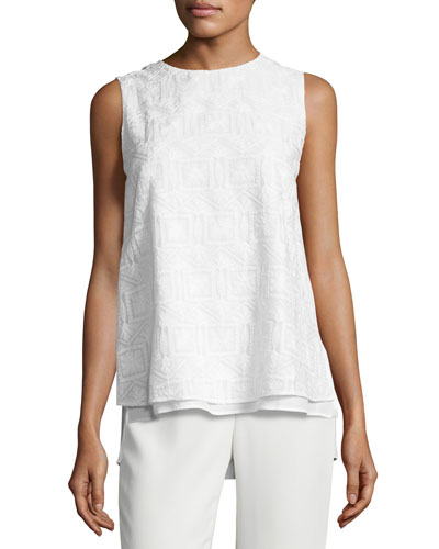 Arla Sleeveless Heirloom-Stitch Layered Blouse, White