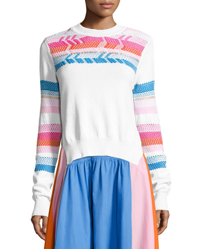 Striped-Trim Crewneck Sweater, White/Multi