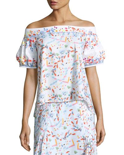 Floral Off-the-Shoulder Half-Sleeve Blouse, White