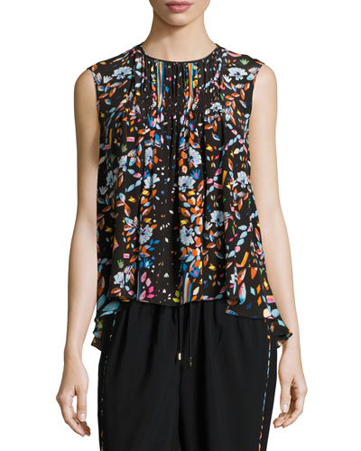 Floral Sleeveless High-Low Blouse, Black