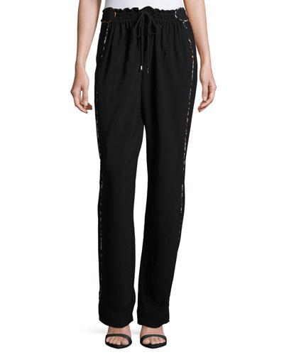 Printed-Piping Drawstring Pants, Black