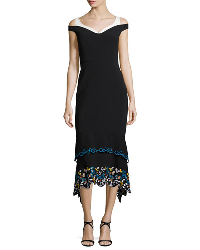Cold-Shoulder Embroidered Midi Dress, Black