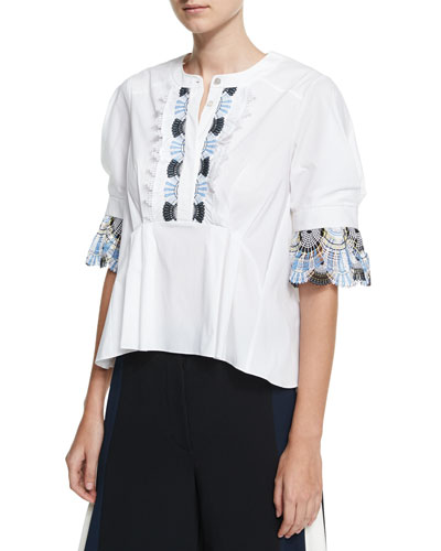 Lace-Trim 3/4-Sleeve Blouse, White