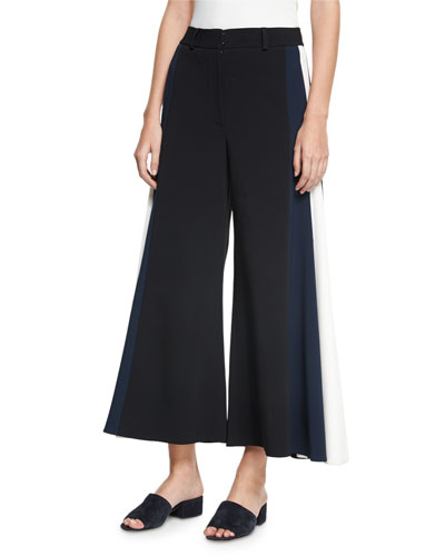 Pleated Side-Strap Culottes, Black