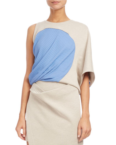 Atlein ONE-SHOULDER RIBBED-INSET TOP, OPEN WHITE