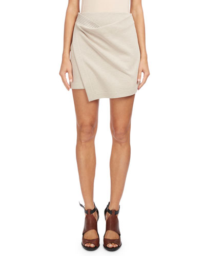 Asymmetric Wrap Mini Skirt, Off White