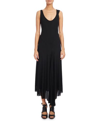 Ribbed Scoop-Neck Sleeveless Dress, Black