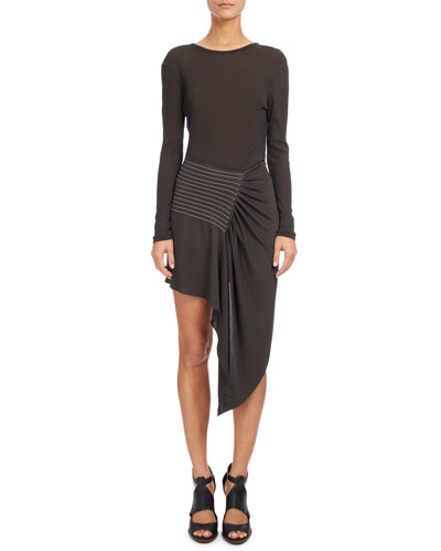 Topstitched-Waist Long-Sleeve Dress, Ebony