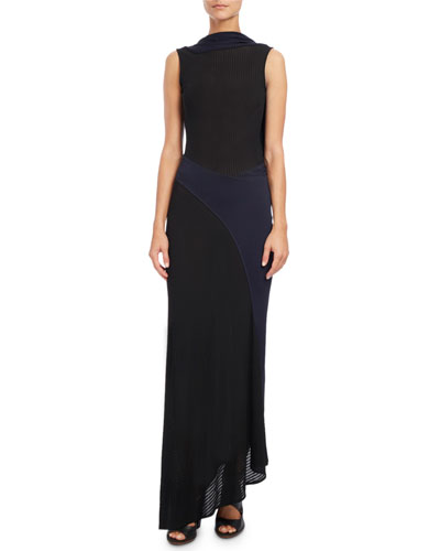 Sleeveless Draped-Back Gown, Blue/Black