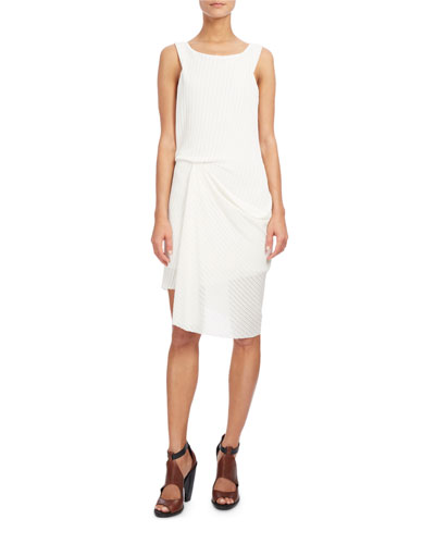 Sleeveless Draped Open-Weave Dress, White