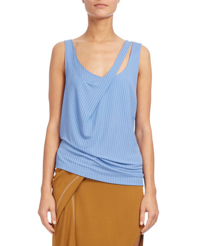 Double-Strap Ribbed Tank, Light Blue