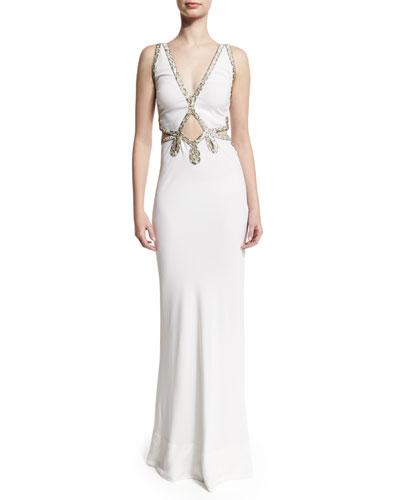 Embellished-Trim Deep-V Gown, White